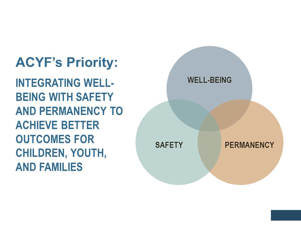 ACYF's Priority: INTEGRATING WELL- BEING WITH SAFETY AND PERMANENCY TO ACHIEVE BETTER OUTCOMES FOR CHILDREN, YOUTH, AND FAMILIES