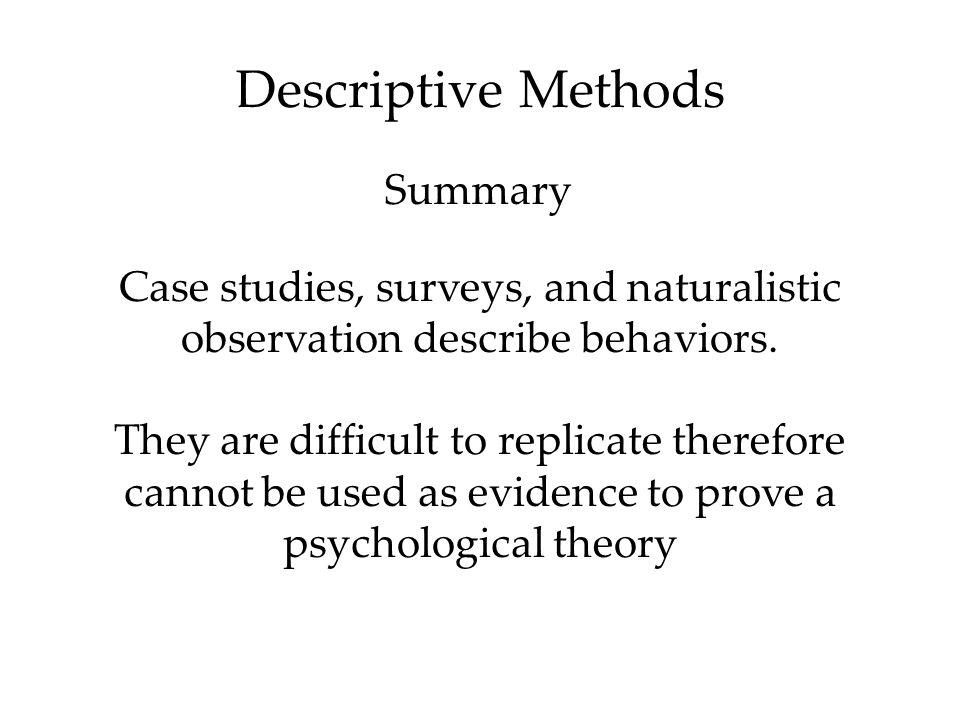 Descriptive Methods Summary