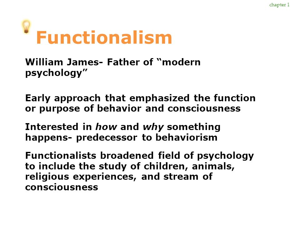 Functionalism William James- Father of modern psychology