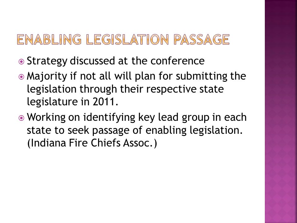 Enabling Legislation Passage