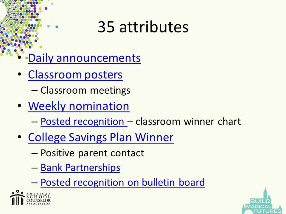 35 attributes Daily announcements Classroom posters Weekly nomination