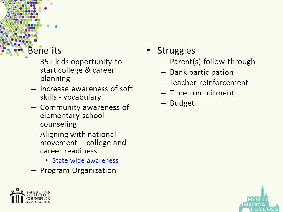 Benefits 35+ kids opportunity to start college & career planning. Increase awareness of soft skills - vocabulary.
