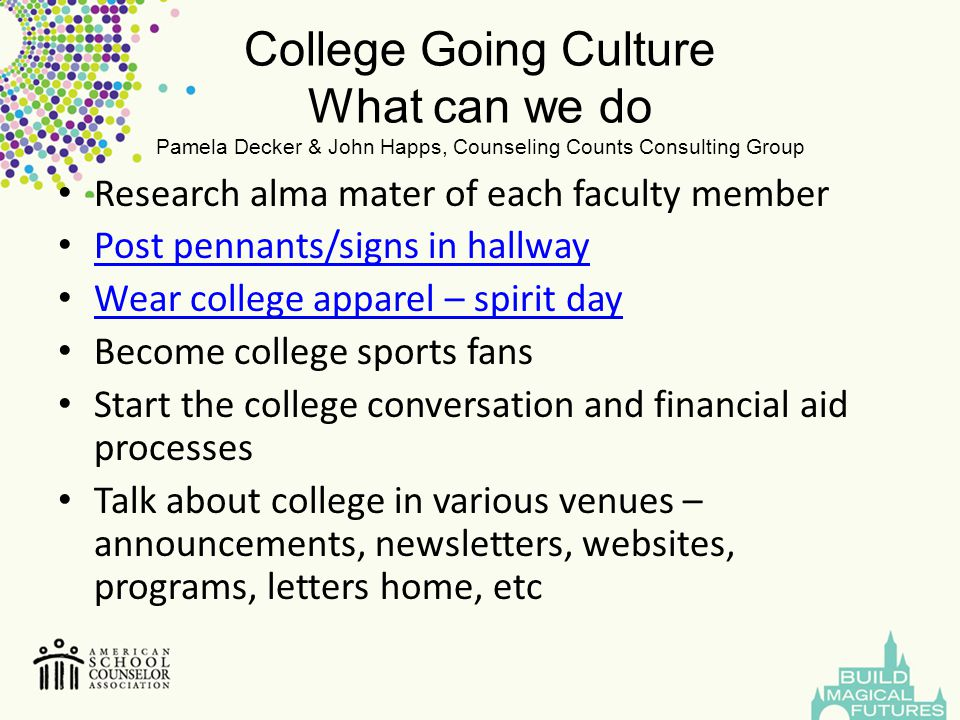 College Going Culture What can we do Pamela Decker & John Happs, Counseling Counts Consulting Group