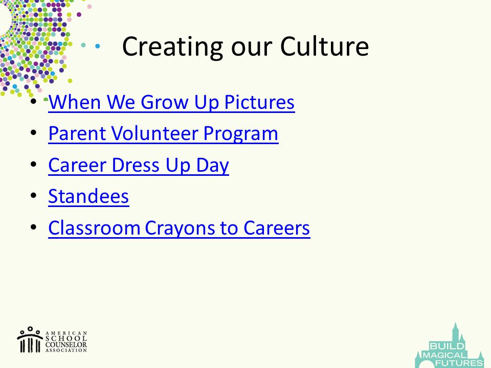 Creating our Culture When We Grow Up Pictures Parent Volunteer Program