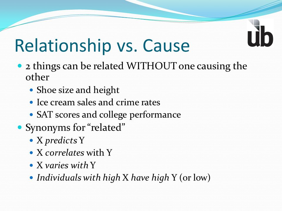 Relationship vs. Cause 2 things can be related WITHOUT one causing the other. Shoe size and height.