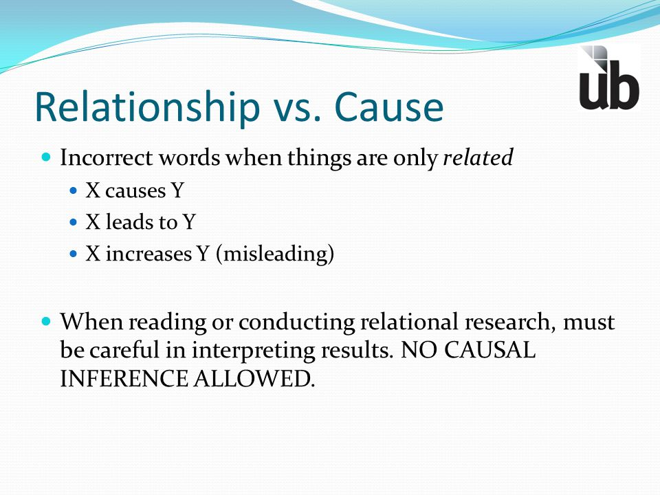 Relationship vs. Cause Incorrect words when things are only related