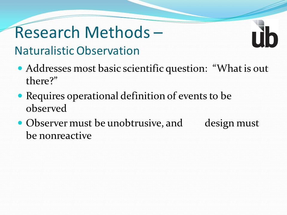 Research Methods – Naturalistic Observation