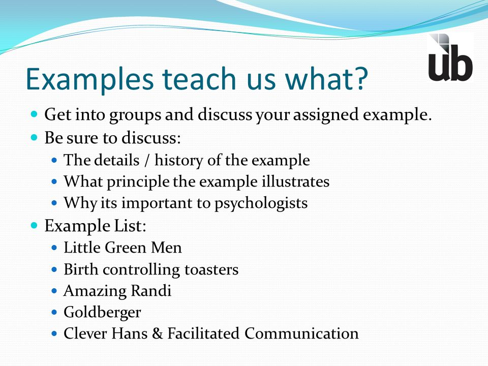 Examples teach us what Get into groups and discuss your assigned example. Be sure to discuss: The details / history of the example.