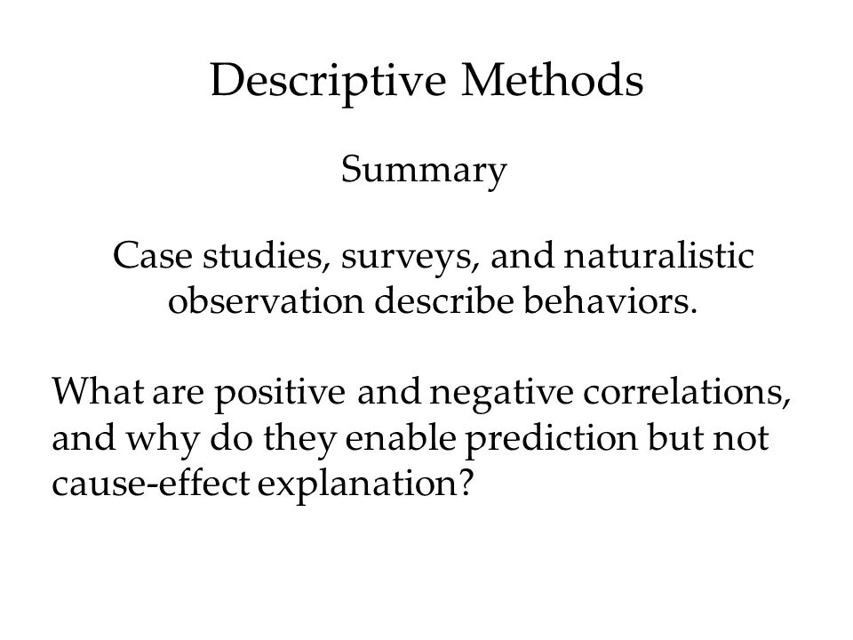 Descriptive Methods Summary