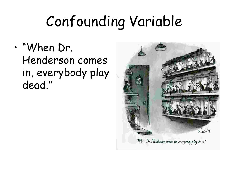 Confounding Variable When Dr. Henderson comes in, everybody play dead.