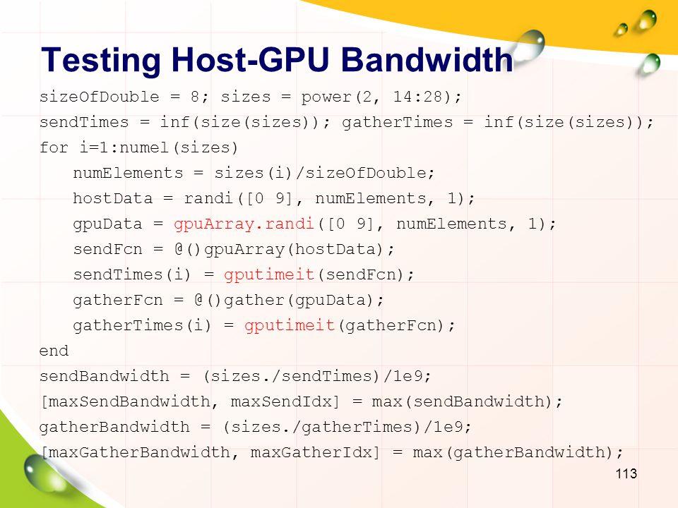 Testing Host-GPU Bandwidth