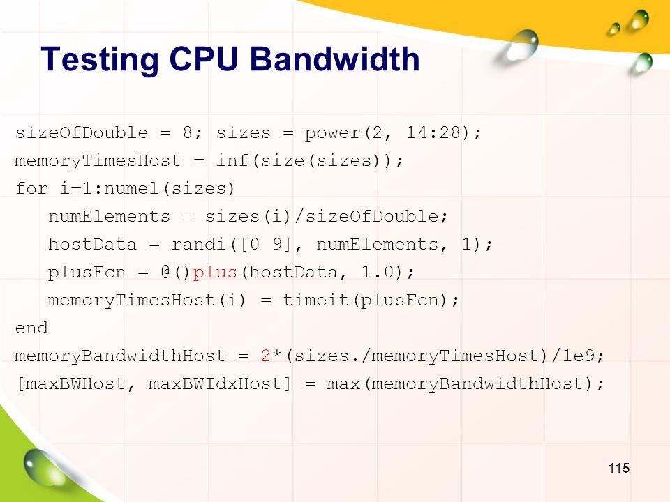 Testing CPU Bandwidth sizeOfDouble = 8; sizes = power(2, 14:28);