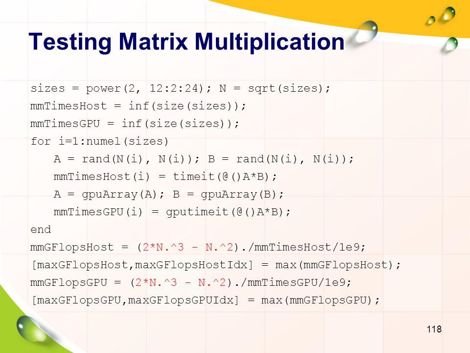 Testing Matrix Multiplication