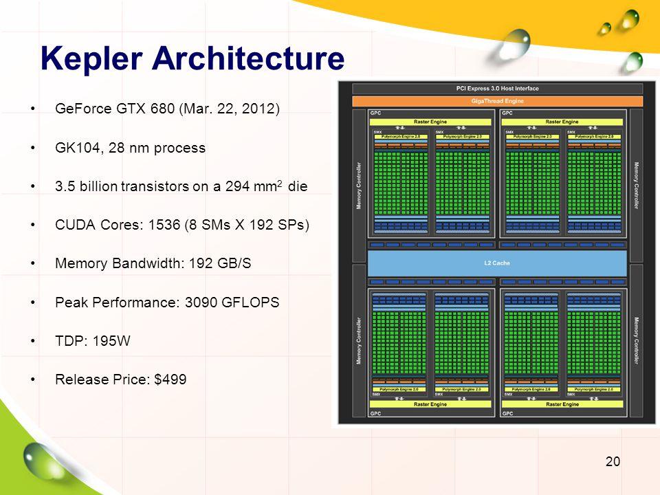 Kepler Architecture GeForce GTX 680 (Mar. 22, 2012)