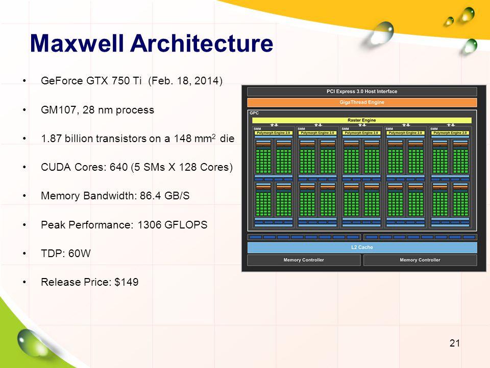 Maxwell Architecture GeForce GTX 750 Ti (Feb. 18, 2014)