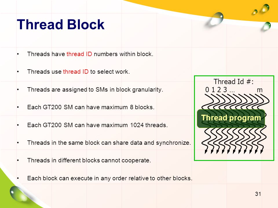 Thread Block Thread program Thread Id #: 0 1 2 3 … m