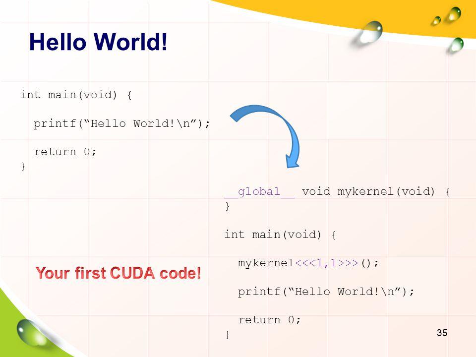 Hello World! Your first CUDA code! int main(void) {