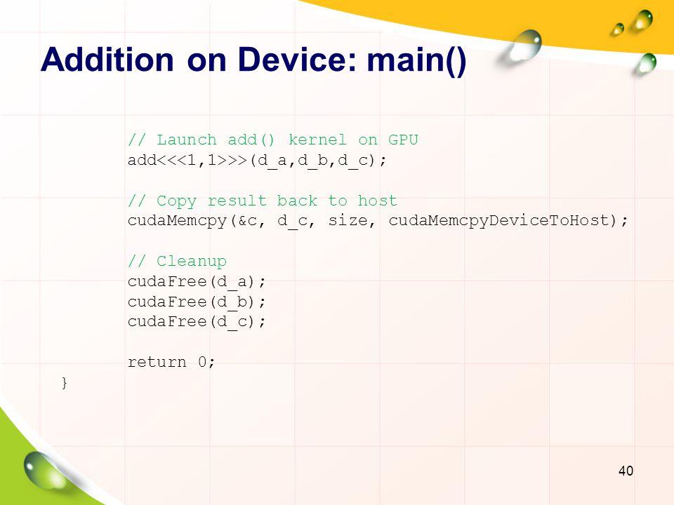 Addition on Device: main()