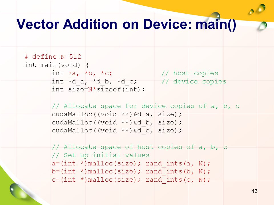Vector Addition on Device: main()