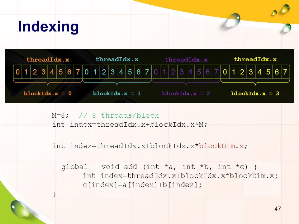 Indexing M=8; // 8 threads/block int index=threadIdx.x+blockIdx.x*M;