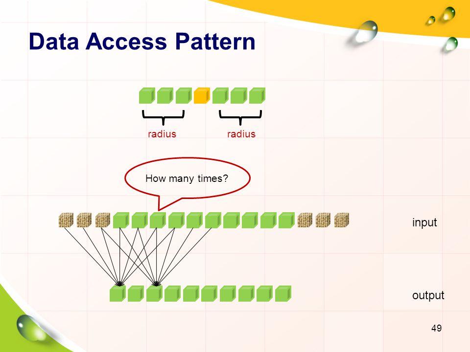 Data Access Pattern radius radius How many times input output