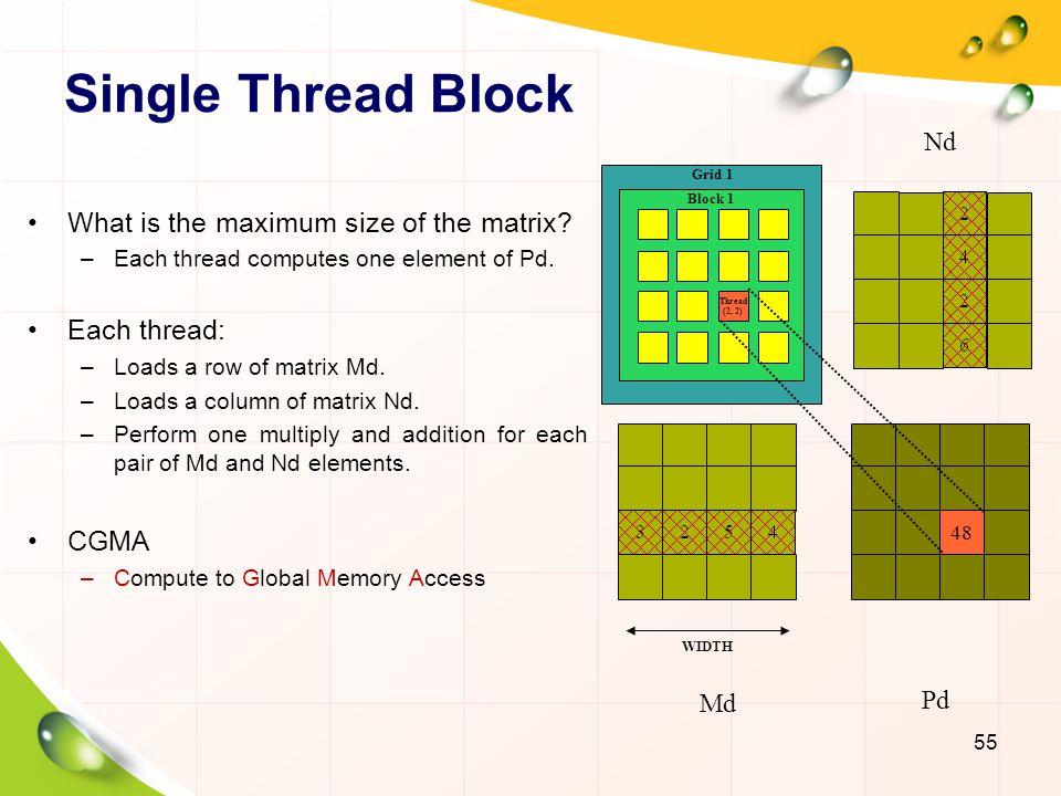 Single Thread Block What is the maximum size of the matrix