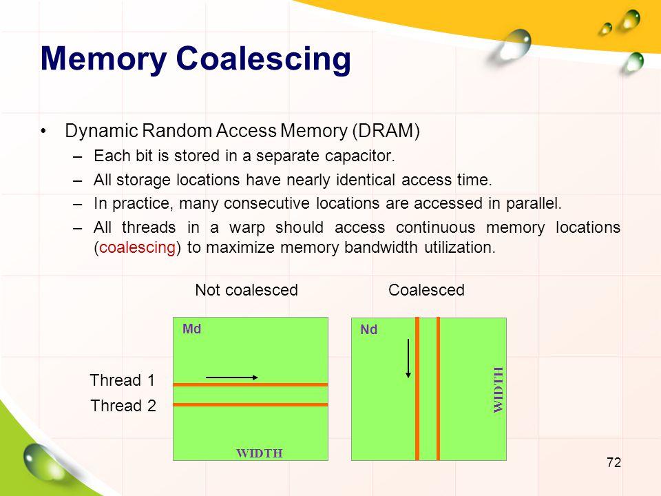 Memory Coalescing Dynamic Random Access Memory (DRAM)