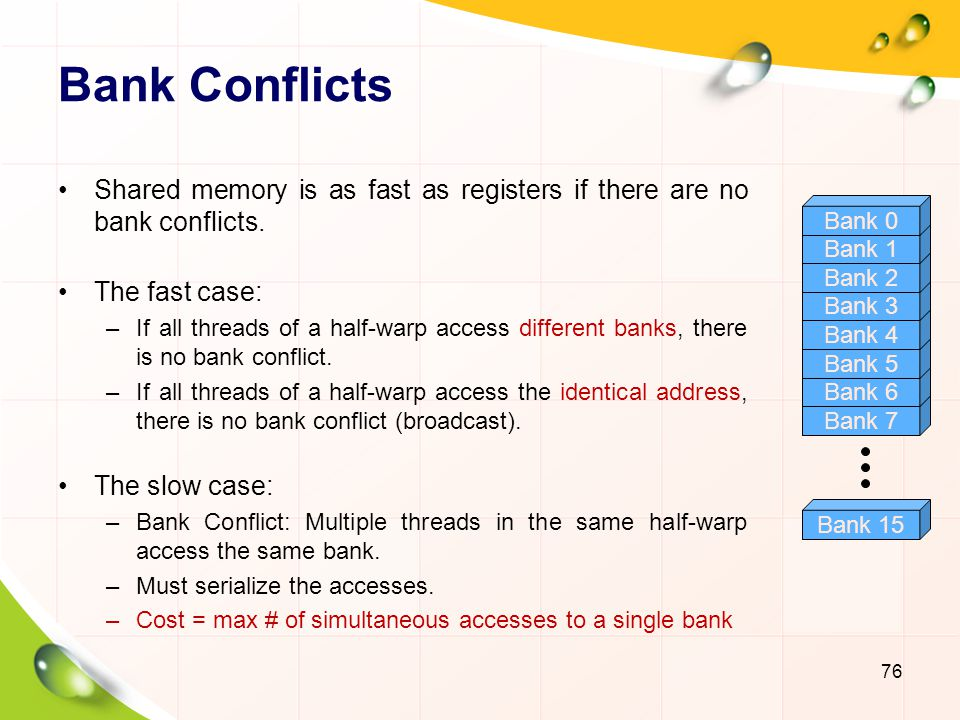 Bank Conflicts Shared memory is as fast as registers if there are no bank conflicts. The fast case: