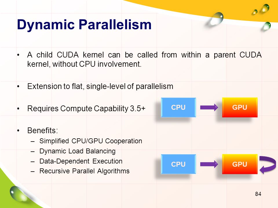 Dynamic Parallelism A child CUDA kernel can be called from within a parent CUDA kernel, without CPU involvement.