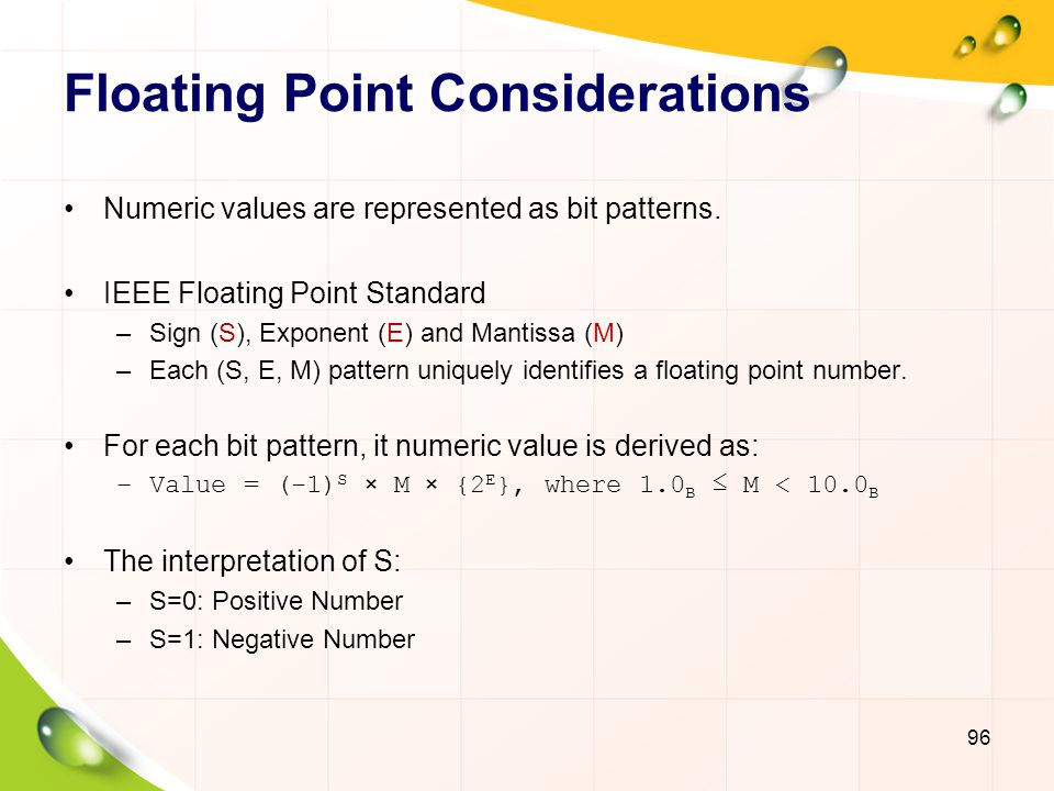 Floating Point Considerations