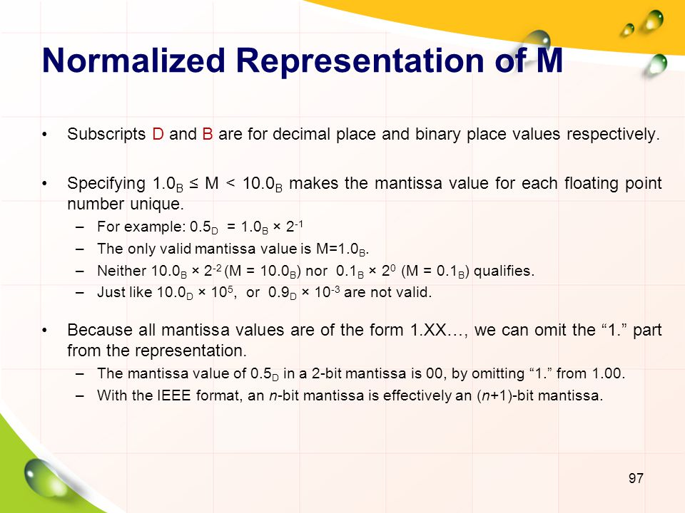 Normalized Representation of M