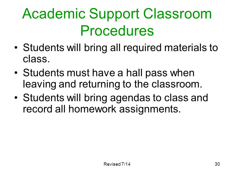 Academic Support Classroom Procedures