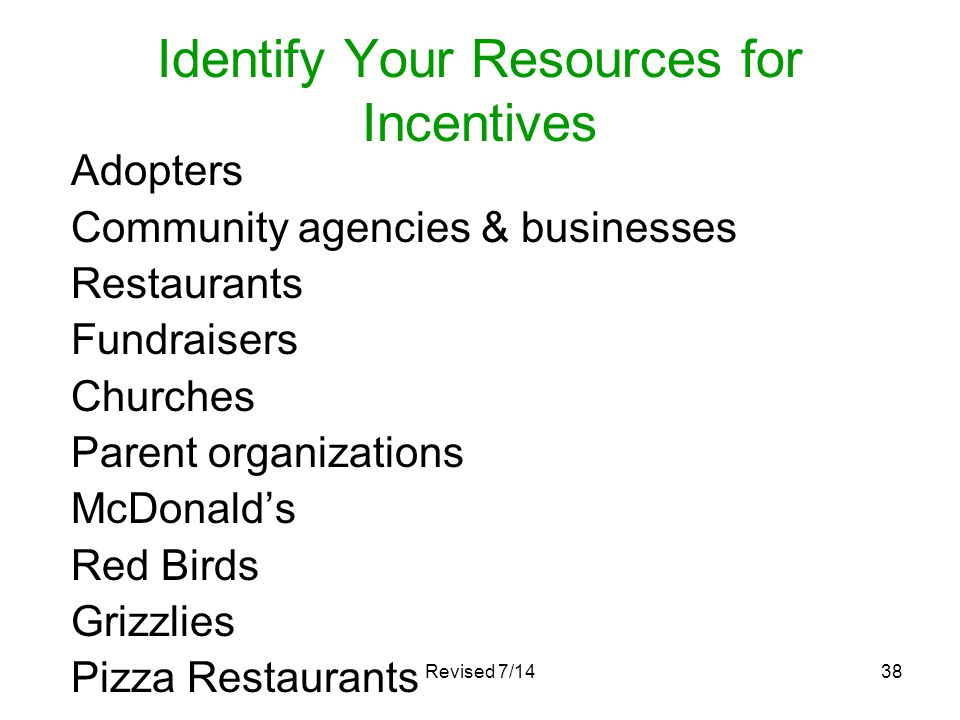 Identify Your Resources for Incentives