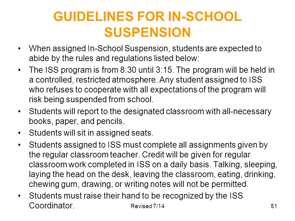 GUIDELINES FOR IN-SCHOOL SUSPENSION