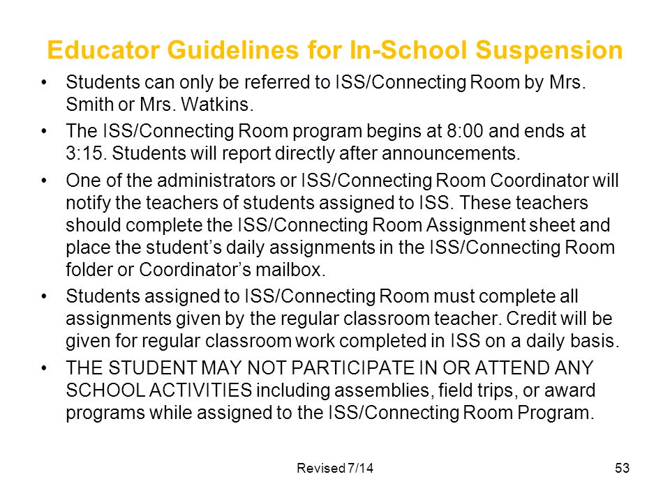 Educator Guidelines for In-School Suspension