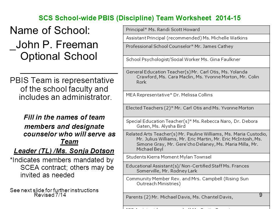 SCS School-wide PBIS (Discipline) Team Worksheet 2014-15