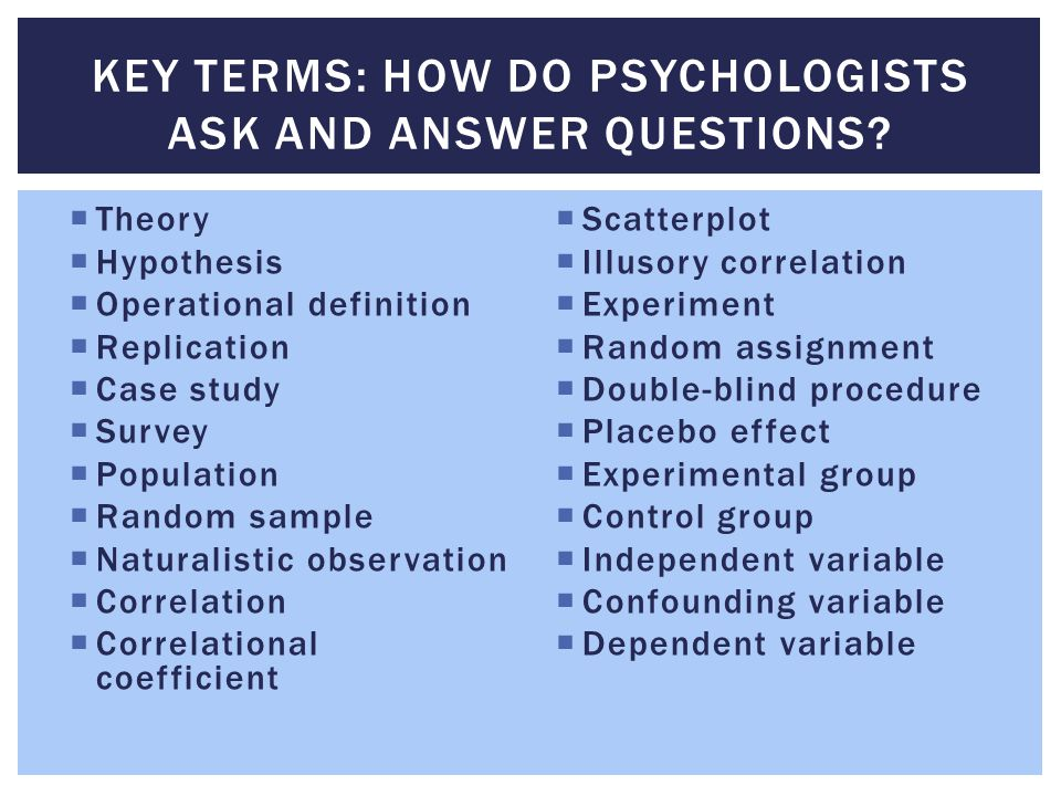 Key Terms: How do Psychologists Ask and Answer Questions