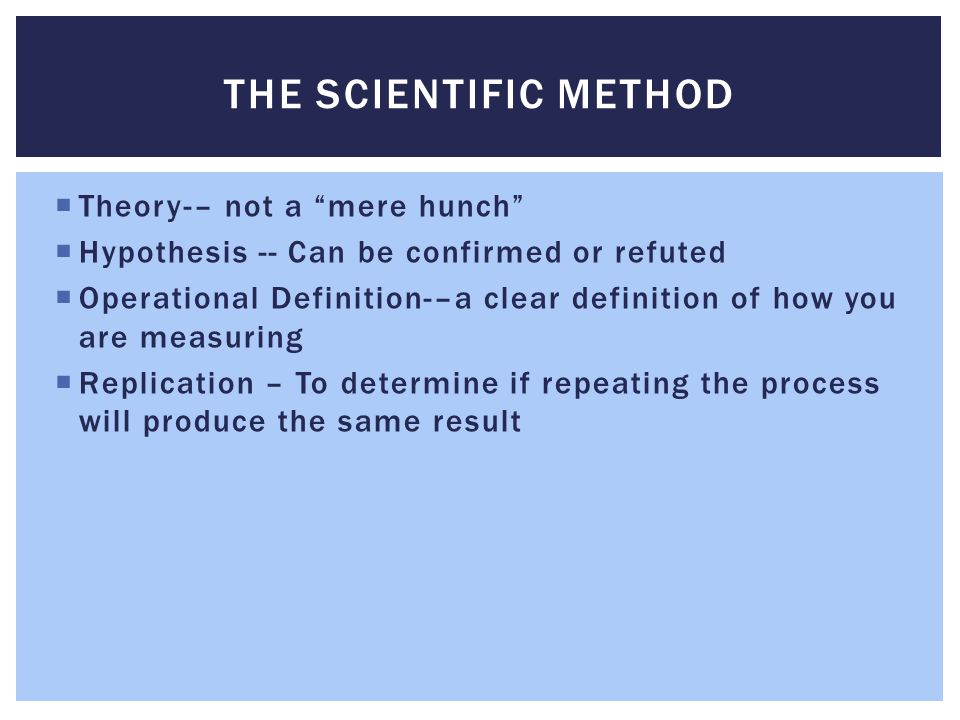 The Scientific Method Theory-– not a mere hunch