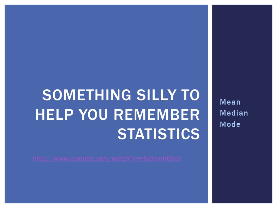 Something silly to help you remember statistics