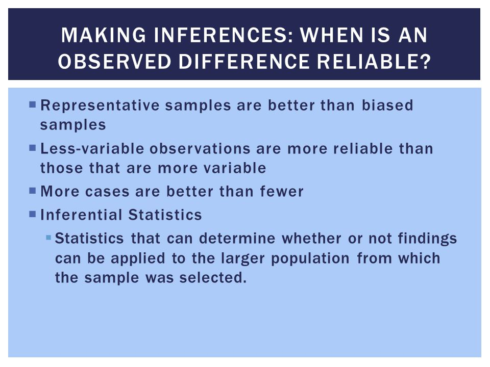 Making Inferences: When Is an Observed Difference Reliable