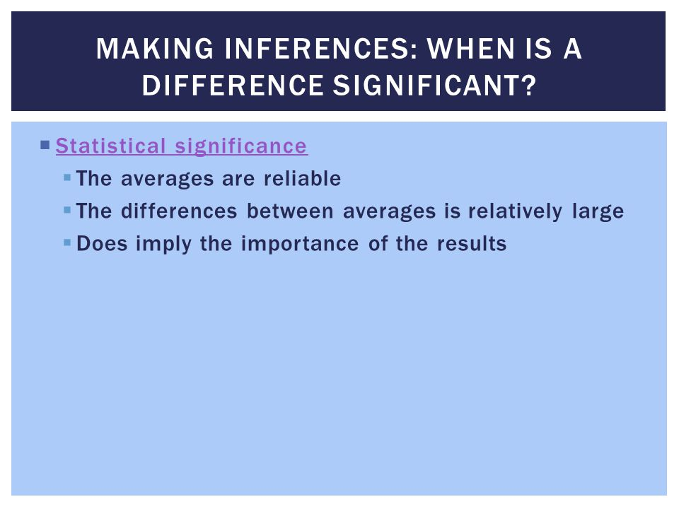 Making Inferences: When Is a Difference Significant
