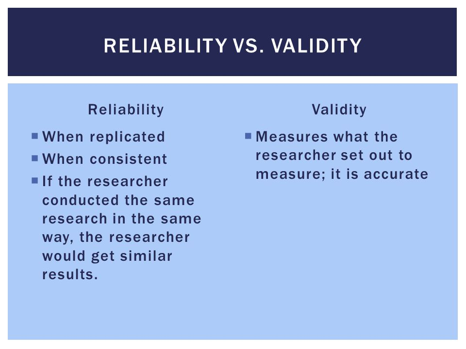 Reliability vs. validity