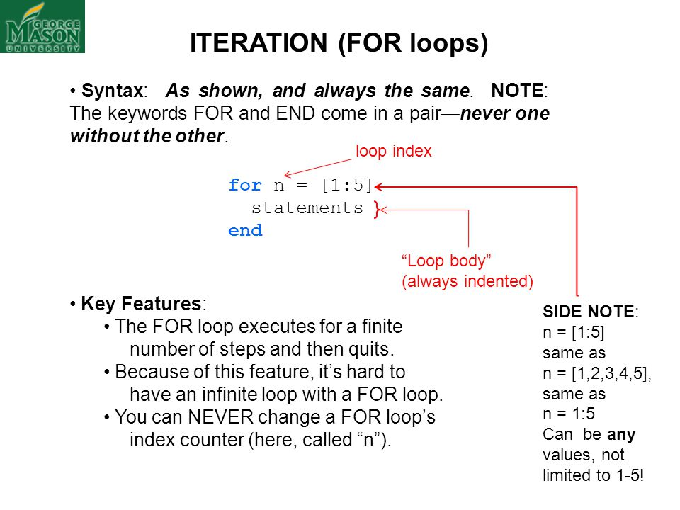 ITERATION (FOR loops) Syntax: As shown, and always the same. NOTE: The keywords FOR and END come in a pair—never one without the other.