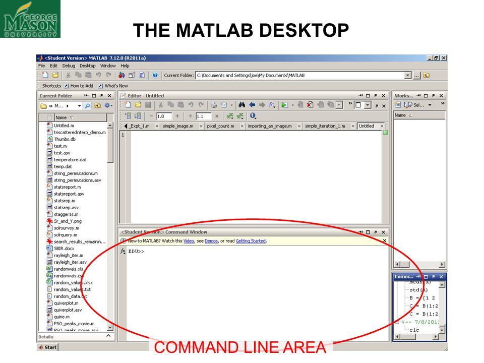 THE MATLAB DESKTOP COMMAND LINE AREA