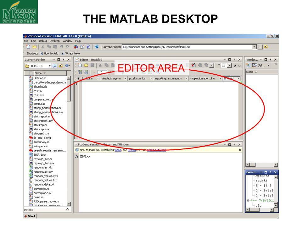 THE MATLAB DESKTOP EDITOR AREA