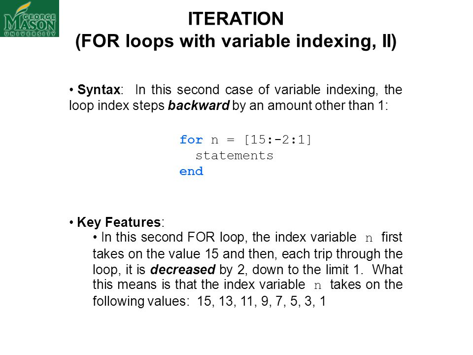 (FOR loops with variable indexing, II)