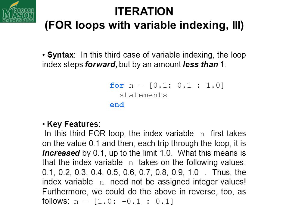 (FOR loops with variable indexing, III)