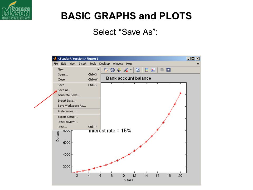 BASIC GRAPHS and PLOTS Select Save As :