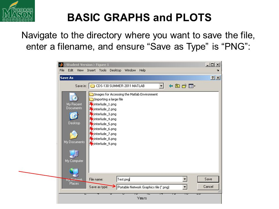 BASIC GRAPHS and PLOTS Navigate to the directory where you want to save the file, enter a filename, and ensure Save as Type is PNG :