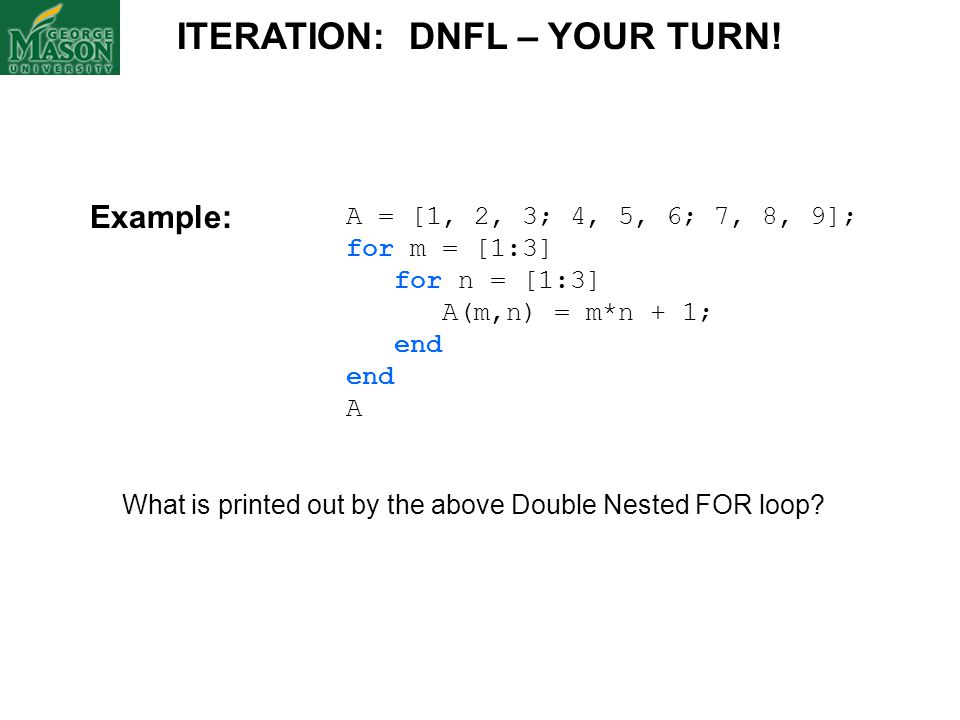 ITERATION: DNFL – YOUR TURN!